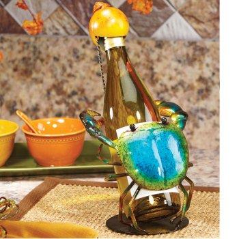 Figurine Metal Wine Bottle Holder - Blue Crab
