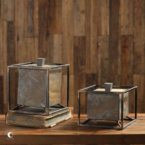uttermost slate cube boxes s 2. Black Bedroom Furniture Sets. Home Design Ideas