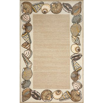 Seashell Border Natural Indoor/Outdoor Rug