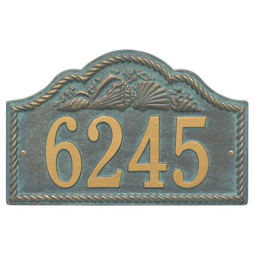Personalized Rope Shell Arch Plaque Wall, Bronze Verdigris