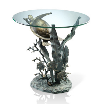 Coastal Sea Turtle Table With Glass Top