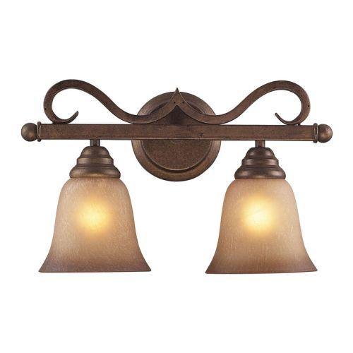 Beach Glass Vanity Light : Elk Lighting Lawrenceville 2 Light Vanity In Mocha With Antique Amber Glass