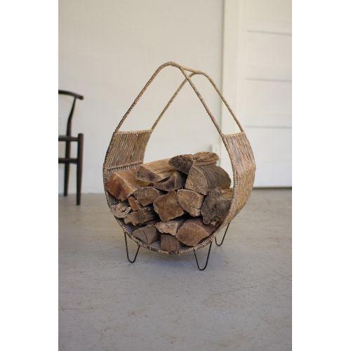 Woven Rush And Metal Firewood Rack With Tall Handle
