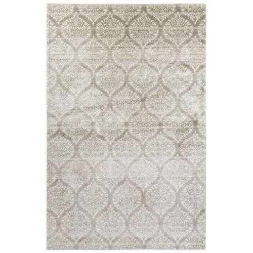 Jaipur Contemporary Damask Pattern Ivory Gray Bamboo Silk