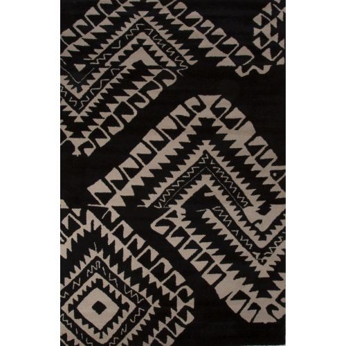 8x11 Modern Area Rugs: Jaipur Contemporary Tribal Pattern Black/White Wool Area