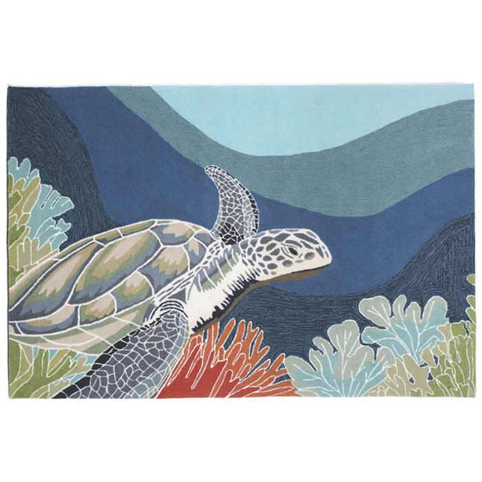 Beige and Brown Sea Turtle Square Accent Rug 32&quot- - Beach Style ...