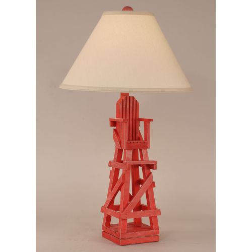 Coastal Lamp Life Guard Chair Table Lamp - Cottage Classic Red