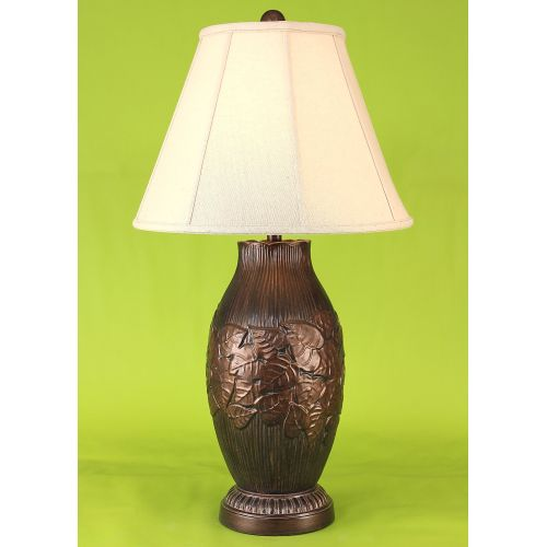 Ribbed Brass Floor Lamp: Coastal Lamp Traditonal Ribbed Floor Lamp W/Leaf Accent