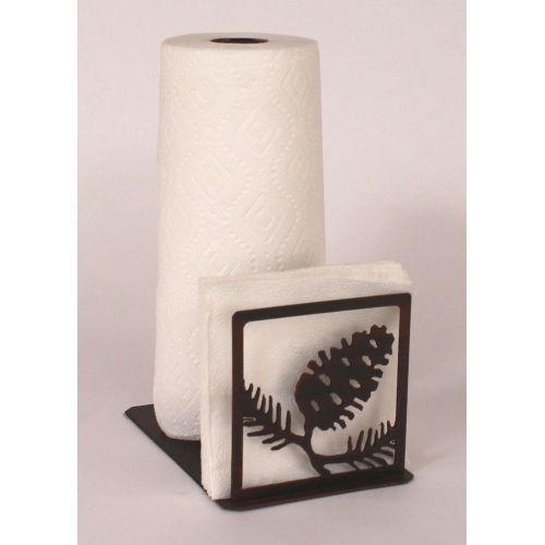 Coastal lamp iron pine cone short paper towel napkin holder - Coastal napkin holder ...