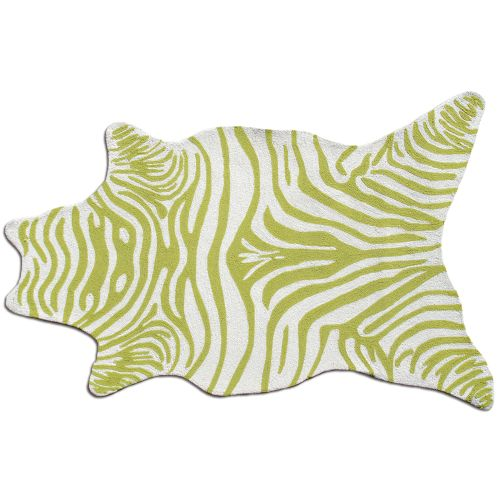 Graham And Green Zebra Rug: Zebra Green Shaped Hook Rug