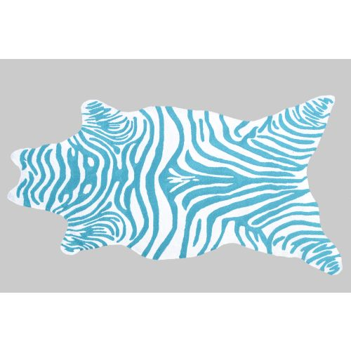 Zebra Teal Hook Rug
