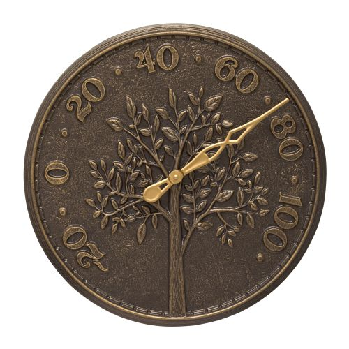 """Tree Of Life 16"""" Indoor Outdoor Wall Thermometer, French Bronze"""