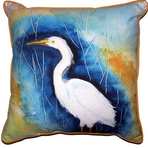 Great Egret Left Large Indoor/Outdoor Pillow 18X18