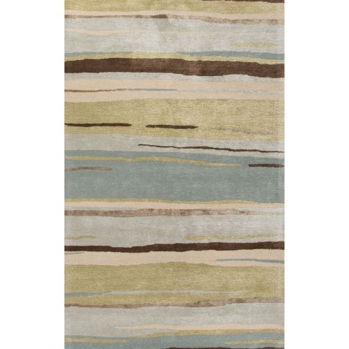 Wool Silk Rugs Contemporary: Jaipur Contemporary Coastal Pattern Green/Blue Wool And