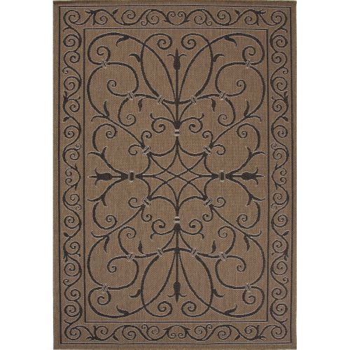 Jaipur Indoor Outdoor Damask Pattern Taupe Black