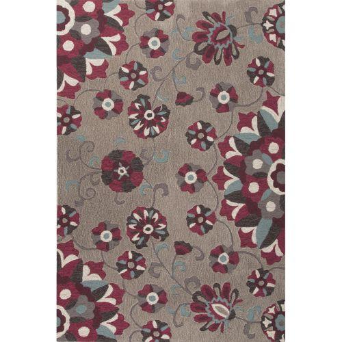 Modern Leaves Rug: Jaipur Contemporary Floral & Leaves Pattern Gray/Purple
