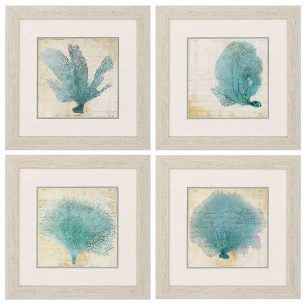 blue coral framed art set of 4. Black Bedroom Furniture Sets. Home Design Ideas