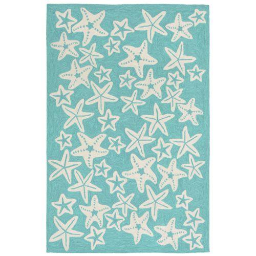 """Trans Ocean Starfish Aqua Rug 24"""" X 36"""""""