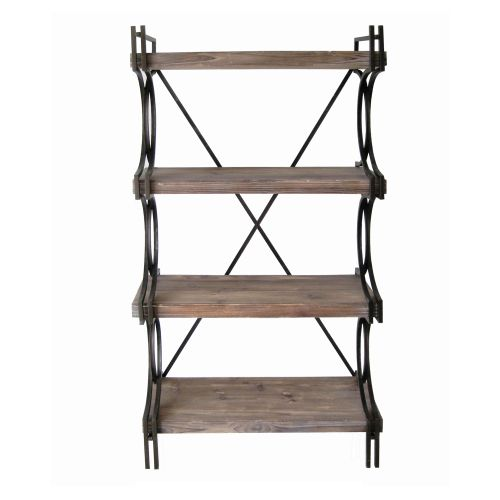 Crestview collection industrial metal and wood etagere - Etagere modulable metal ...
