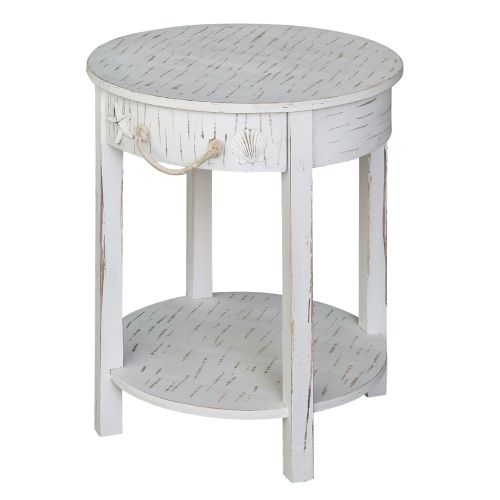crestview collection seaside white shell 1 drawer round accent table. Black Bedroom Furniture Sets. Home Design Ideas
