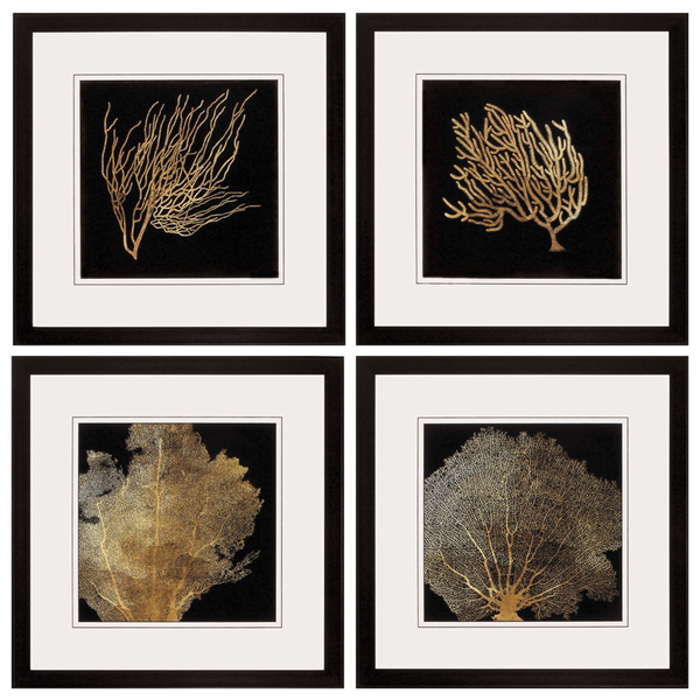 coral framed art set of 4. Black Bedroom Furniture Sets. Home Design Ideas
