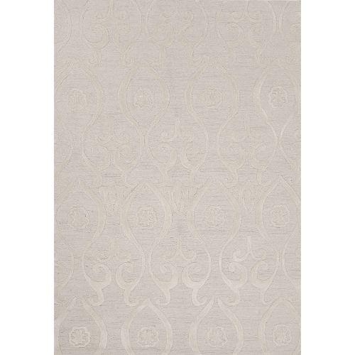 Jaipur Contemporary Damask Pattern Ivory White Polyester