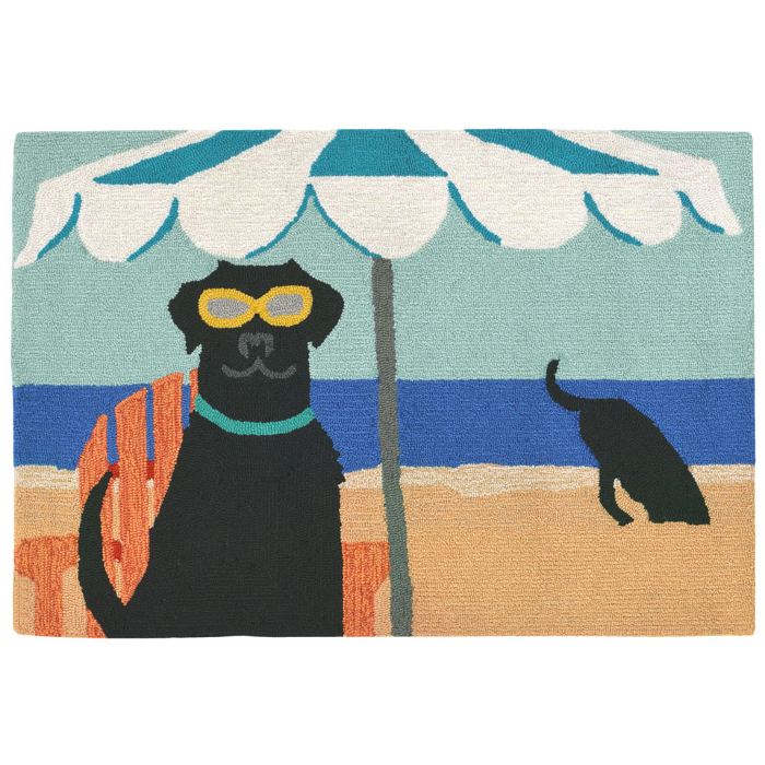 Dig In The Beach Black Lab Dog Indoor Outdoor Rug