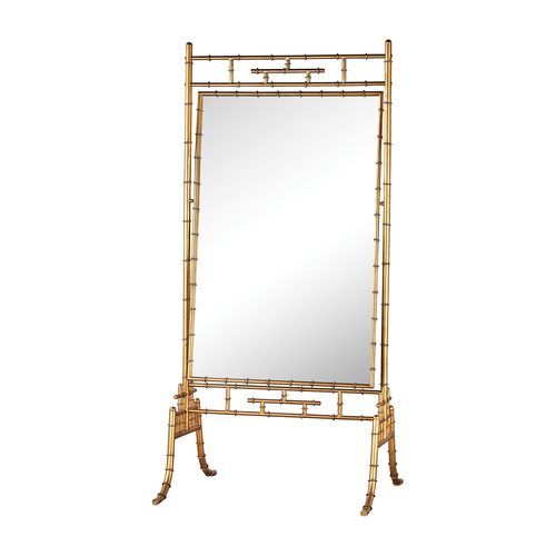 Brunei antique gold 70 inch metal and glass standing mirror for Standing glass mirror