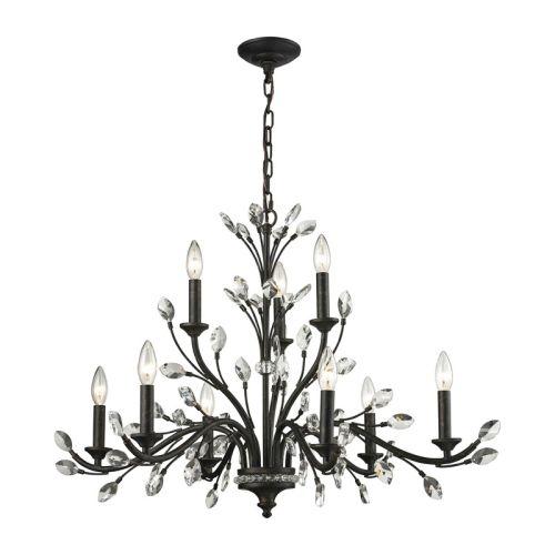 elk lighting crystal branches 9 light chandelier in burnt bronze. Black Bedroom Furniture Sets. Home Design Ideas