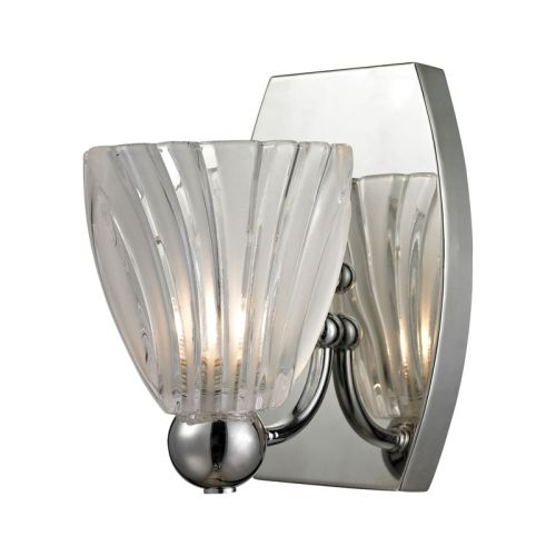 Clear Vanity Light Glass : Elk Lighting Lindale 1 Light Vanity In Polished Chrome And Scalloped Glass
