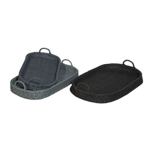 Oval Rattan Trays In Manor Slate And Misty Blue, ...