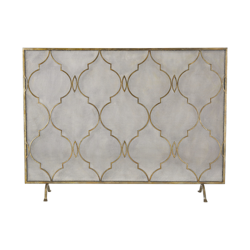 Agra Antique Gold 34 Inch Metal Fire Screen