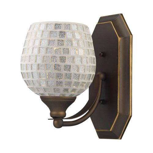 Elk lighting bath and spa 1 light vanity in aged bronze for Bronze and silver bathroom accessories