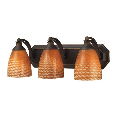 Beach Glass Vanity Light : Elk Lighting Bath And Spa 3 Light Vanity In Aged Bronze And Cocoa Glass