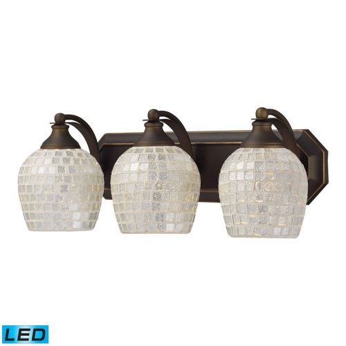 Elk lighting bath and spa 3 light led vanity in aged for Bronze and silver bathroom accessories
