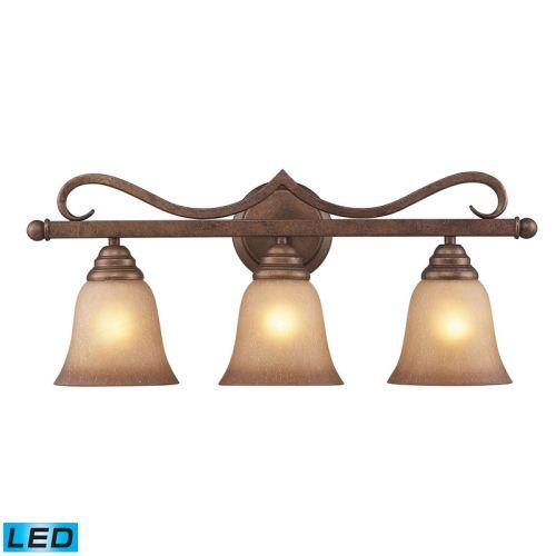 Beach Glass Vanity Light : Elk Lighting Lawrenceville 3 Light LED Vanity In Mocha With Antique Amber Glass