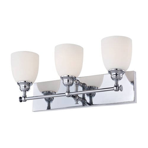 Beach Glass Vanity Light : Essex 3 Light Vanity In Chrome And White Opal Glass