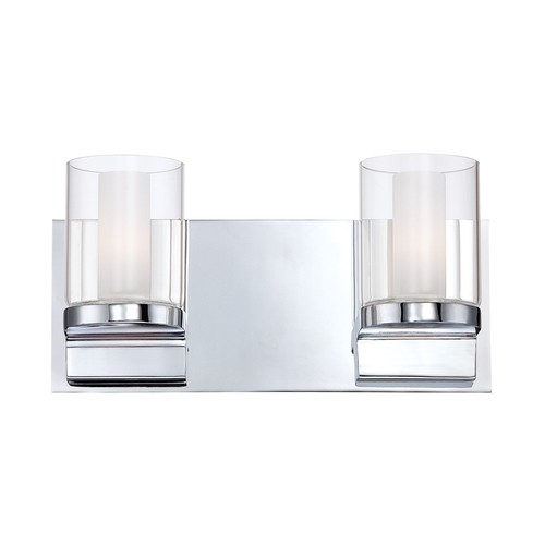 Clear Vanity Light Glass : Anchor 2 Light Vanity In Chrome And Clear Outer Glass With White Opal Inner Glass