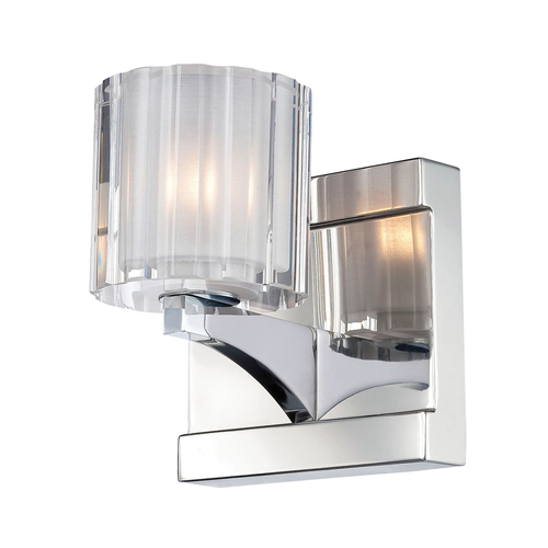 Clear Vanity Light Glass : Tiara 1 Light Vanity In Chrome And Slotted Clear Glass