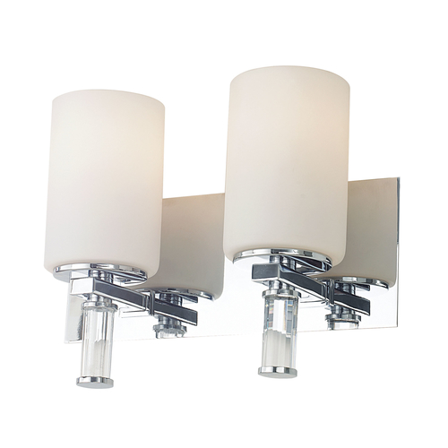 Beach Glass Vanity Light : Crystal 2 Light Vanity In Chrome And White Opal Glass With Crystal Arm Detail