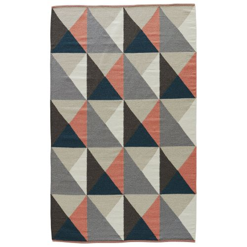 Gray Area Rug 8x11: Jaipur Youth Geometric Pattern Gray/Pink Wool And Cotton