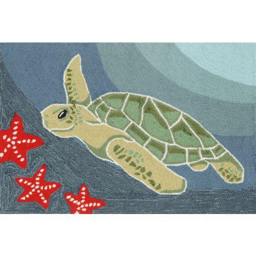 """Liora Manne Frontporch Sea Turtle Indoor/Outdoor Rug - Blue, 20"""" By 30"""""""