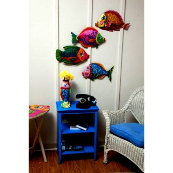 Funky Fish Metal Wall Decor (set of 4)