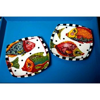 Funky fish square ceramic dessert plates set of 4 - Funky flatware sets ...