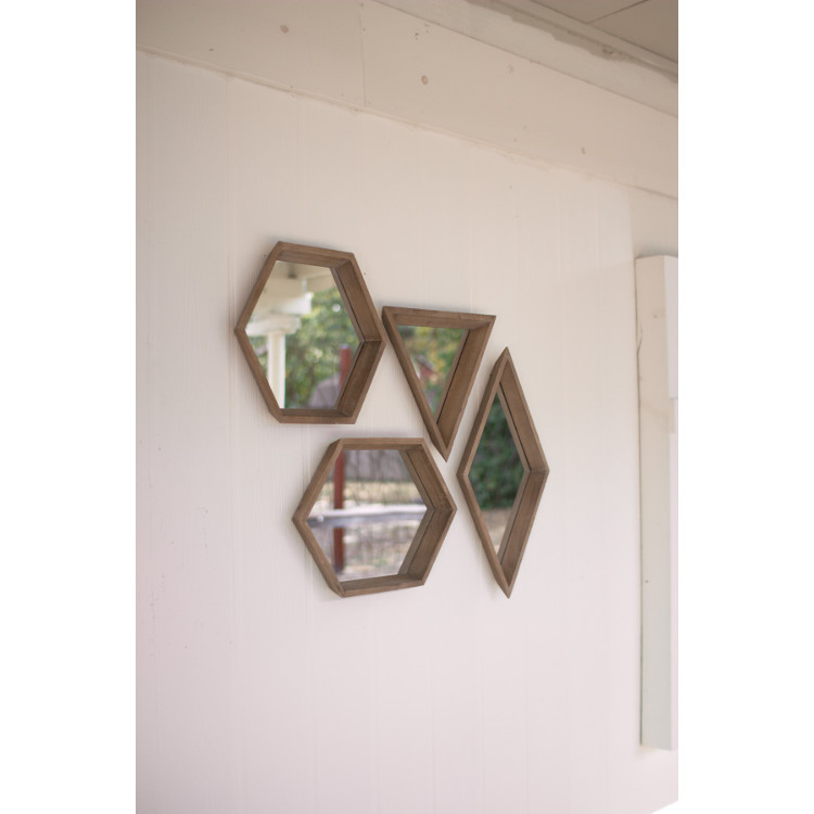 Wood Framed Geometric Mirrors Set Of 4