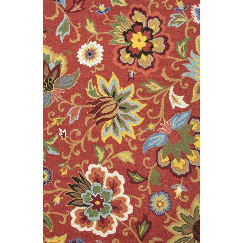 jaipur contemporary floral leaves pattern red blue wool area rug 9x12. Black Bedroom Furniture Sets. Home Design Ideas