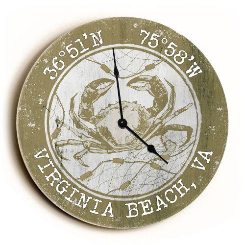 Custom Coordinates Crab Clock - Round Khaki