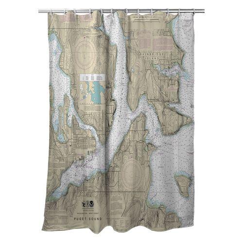 Bremerton Bainbridge Island Wa Nautical Chart Shower Curtain Save Now