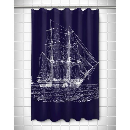 Island Girl Vintage Ship Shower Curtain White On Navy