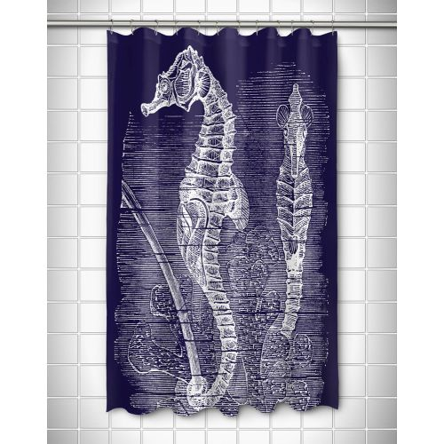 Island Girl Vintage Seahorse Shower Curtain White On Navy